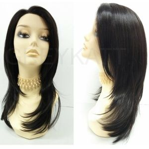 Black straight lace front heat resistant wig